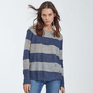 Autumn Cashmere distressed rugby stripe sweater